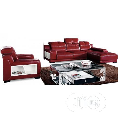 Italian Miguel Red Italian Leather Sectional Sofa And Single Furniture