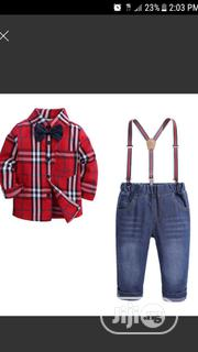 Lovely Set of Jeans, Shirt, Bow Tie and Suspender | Children's Clothing for sale in Lagos State, Egbe Idimu