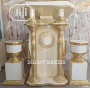 Standard New Designs Modern Church Golden Pulpit With 2flower Vasts | Furniture for sale in Lagos State, Ojo