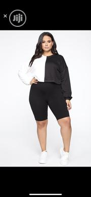 PLUS SIZE- Black and White Cropped Sweatshirt | Clothing for sale in Lagos State, Ikeja