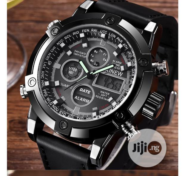Archive: 2019 Luxury Men's Dual Leather Quarz Analog Digital LED Wrist Watch