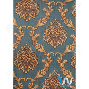 Gold Damask in Blue Wallpaper