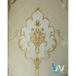 Gold Floral In Light Brown Wallpaper