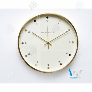 "Gold (White) Metal Finish Wall Clock ""35cm"""
