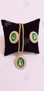 Exquisite Set Of Gold And Green Earrings And Pendant With Chain . | Jewelry for sale in Lagos State, Ikeja