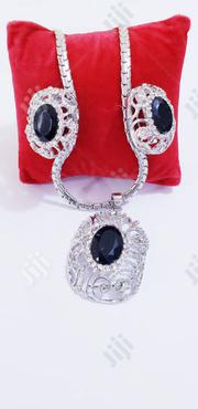 Exquisite Set of Silver Black Earrings and Pendant With Chain | Jewelry for sale in Lagos State, Ikeja