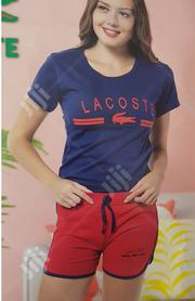 LACOSTE Blue Shirt and Red Short Set | Clothing for sale in Lagos State, Isolo