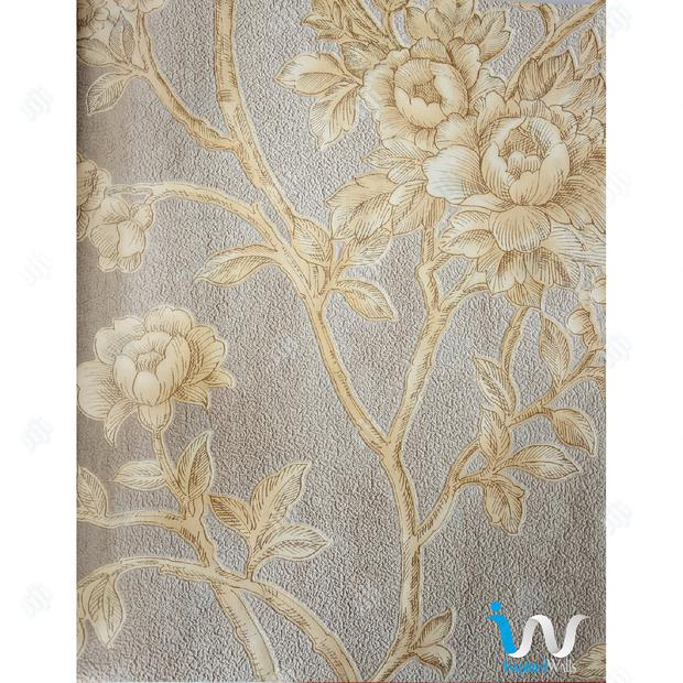 Gold Floral in Beige Suede Wallpaper