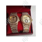 Keep Moving Couple Ice Stone Wristwatch-Gold | Watches for sale in Lagos State, Surulere