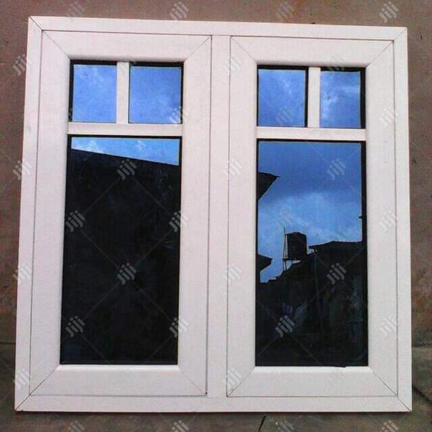 Two Panel Blue Glass Window