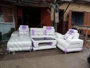 L Shape White Mixed With Purple And Glass Center Table. | Furniture for sale in Lagos State, Maryland