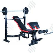 GG310-1 Deluxe Weight Bench 50kg + Barbell | Sports Equipment for sale in Lagos State, Surulere