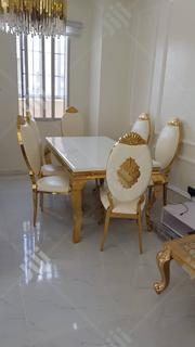 This Is a Pure Golden Leg Dinning Table and Six Unique Design Chairs | Furniture for sale in Lagos State, Ipaja