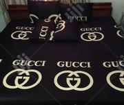 Gold And Coffee Brown GUCCI 6by6 Bedsheet With 4 Pillowcases | Home Accessories for sale in Abuja (FCT) State, Kubwa