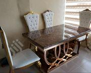 Golden Marble Dining Table With Chairs | Furniture for sale in Lagos State, Ikeja