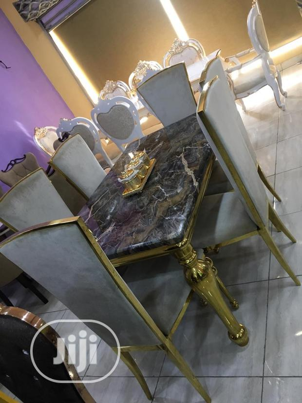 Set Of Gold Marble Dining Table