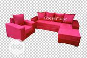 L-Shaped Sofa With a Single Seater Chair - Red Suede Couch   Furniture for sale in Lagos State, Ikeja