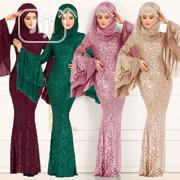 Splicing Sequins Muslim Women's Hip Dress | Clothing for sale in Lagos State, Lagos Island