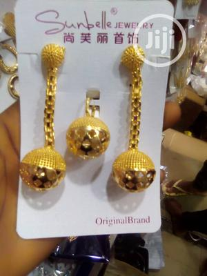 Gold Long Earring With Pendant