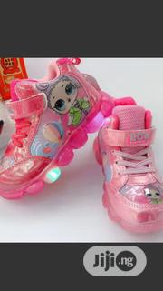 Lovely Princess Pink Hi Top Sneakers With Light for Girls | Children's Shoes for sale in Lagos State, Egbe Idimu