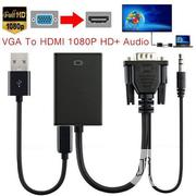 VGA HDMI Converter Adapter Cable With Audio Output 1080P | Accessories & Supplies for Electronics for sale in Lagos State, Ikeja
