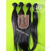 18 Inch Human Hair Bundles With Closure   Hair Beauty for sale in Rivers State, Port-Harcourt