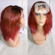 Straight Short Lace Wig- Wine Color   Hair Beauty for sale in Rivers State, Port-Harcourt