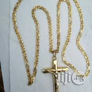 Solid 18krt Gold Necklace Flat Vasae Wit Crucifix Pendant | Jewelry for sale in Lagos State, Lagos Island