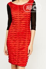 Ruffled Mesh Sleeve Dress Red Black 5 | Clothing for sale in Imo State, Owerri