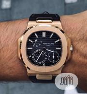 New Patek Philippe Geneve Nautilus Black Leather Wrist Watch | Watches for sale in Lagos State, Lagos Mainland