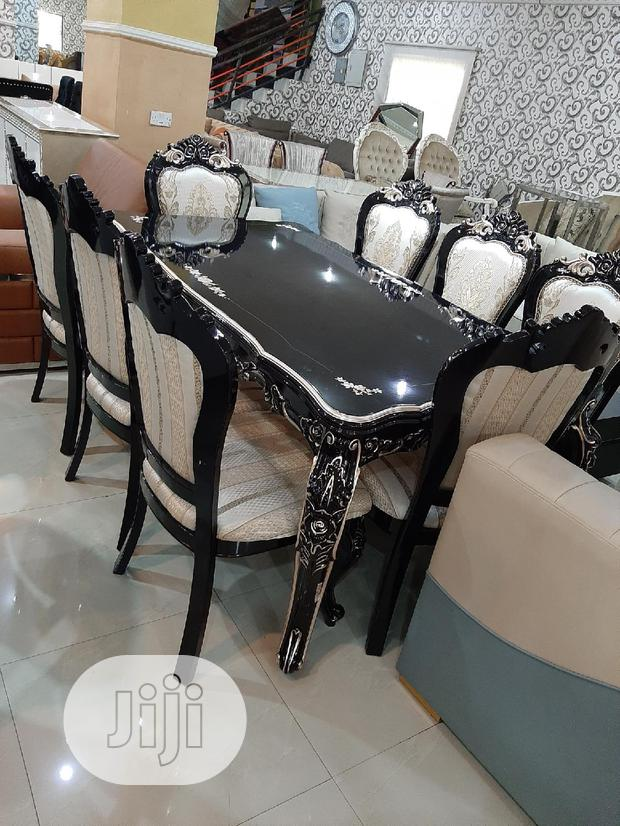 Black Wooden Dining Table By 6 Chairs