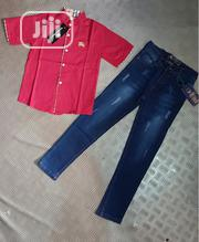 Turkey Boys Burberry Top and Jeans - 1-12yrs Red | Children's Clothing for sale in Lagos State, Isolo