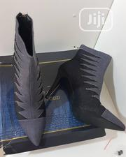 Black Denim Stitched Heely Ankle Boot Shoe | Shoes for sale in Abuja (FCT) State, Gwarinpa