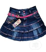 Cute Children Jean Skirt With Pink Design 8-12yrs | Children's Clothing for sale in Lagos State, Isolo