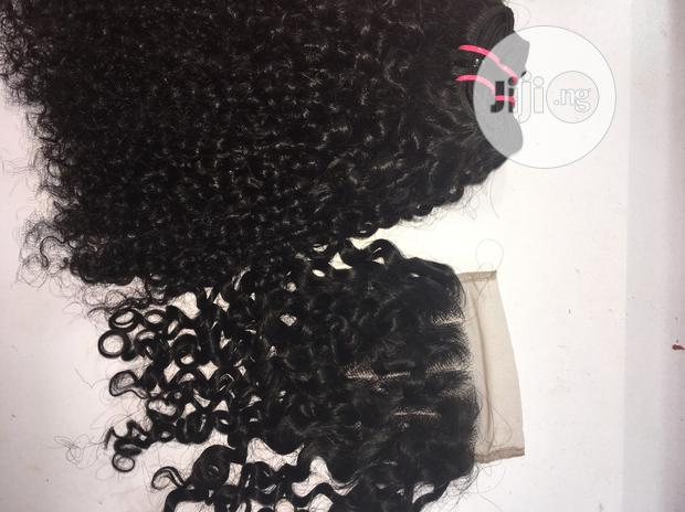 """Archive: 14"""" Indian Kinky Curly Hair +Closure 300 Gram"""