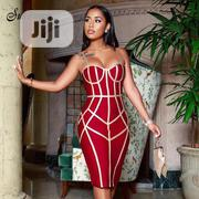 White Striped Sleeveless Celebrity Evening Bandage Bodycon Dresses | Clothing for sale in Rivers State, Port-Harcourt