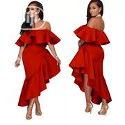 Off Shoulder Asymmetrical Long Dress Women Vintage Classy Dresses | Clothing for sale in Rivers State, Port-Harcourt