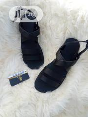 Black Leather Sandal Navy Blue and Red Slides. | Shoes for sale in Lagos State, Lagos Mainland