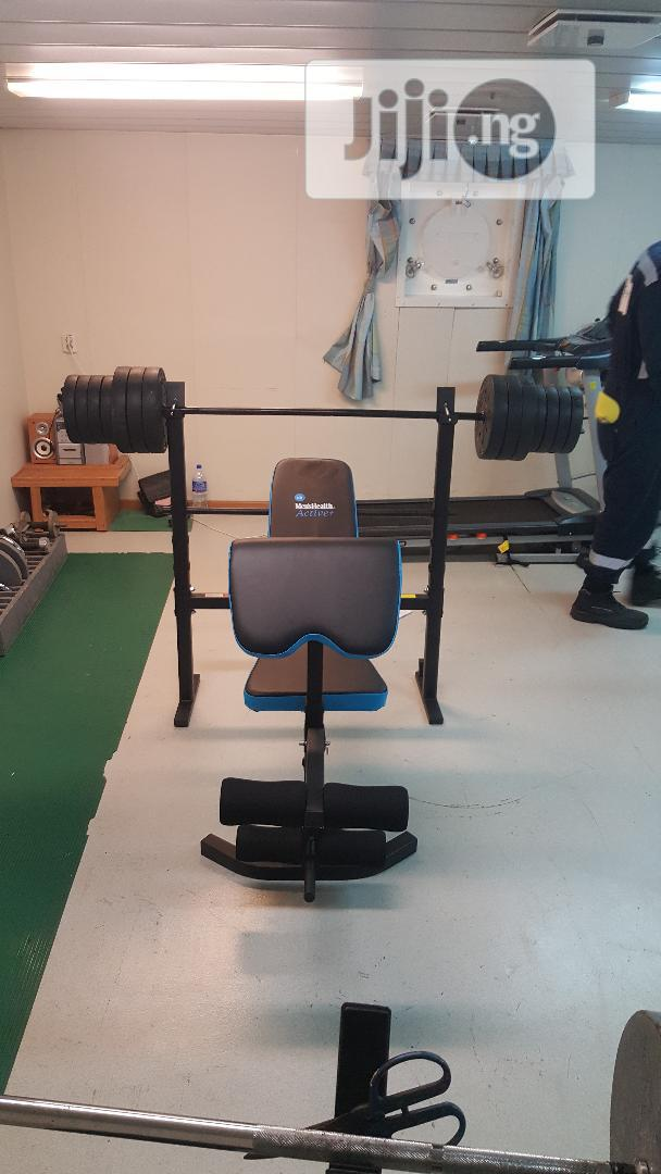 Bench Press With 50kg Barbell, Dumbbell Biceps Curl Pad
