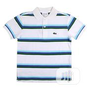 Lacoste Kids Glamour White & Blue Summer Kids Polo Shirt   Children's Clothing for sale in Lagos State, Ikeja