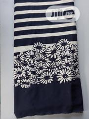 Flowered And Stripped Boarder Edge Poly Fabric DC0084 | Clothing for sale in Lagos State, Agege