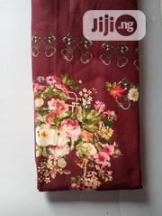 Wine Big Flowered Polish Cotton Fabric DC0107 | Clothing for sale in Lagos State, Agege