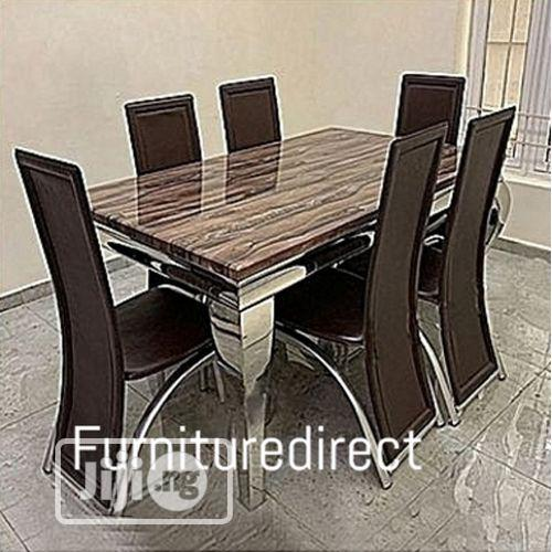 Marble Bronixx Dining Set + 6 Sitting Dinning Chairs