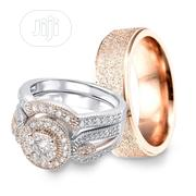 Exquisite Silver And Rose Gold Wedding Ring Set | Jewelry for sale in Lagos State, Ikorodu