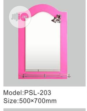 Colored Mirror With Shelf and Light