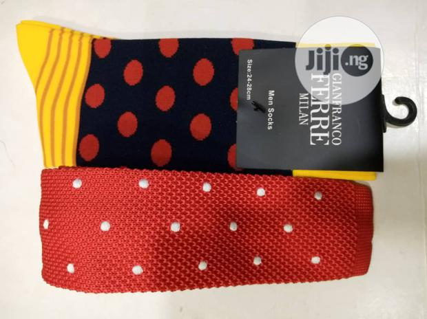 Set of Red Tie With White Dots and Socks