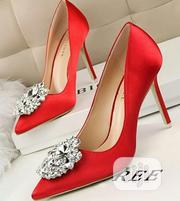 Ladies Designers Red Pointed Heeled Shoe With Silver Design | Shoes for sale in Lagos State, Ikoyi