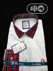Quality Men's Designers White Shirt With Red and Blue Strips | Clothing for sale in Lagos State, Ikoyi