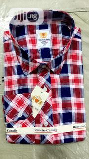 Quality Men's Designers Long Sleeve Check Shirt in Red and Blue Strips | Clothing for sale in Lagos State, Victoria Island