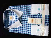 Quality Men's Designers Check Shirt in Blue and White Strips | Clothing for sale in Lagos State, Ikoyi